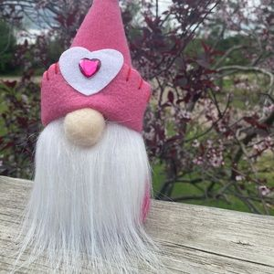 NEW adorable pink fabric gnome